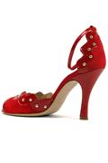 Claire Red Suede Patent Leather Studs
