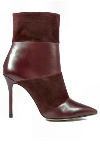High Heels Ankle Boot Bordeaux Suede Leather