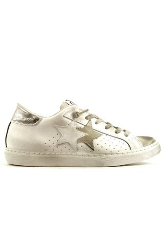 2STAR2SD Low White Leather Ice Suede Silver Laminate