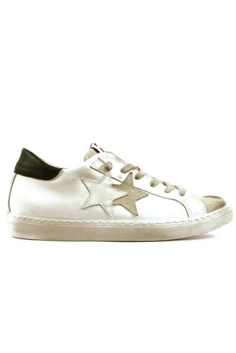 2STAR2SD Low White Black Leather Ice Suede
