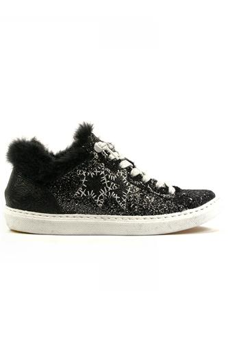 2STAR2SD Low Black Glittered Leather Fur