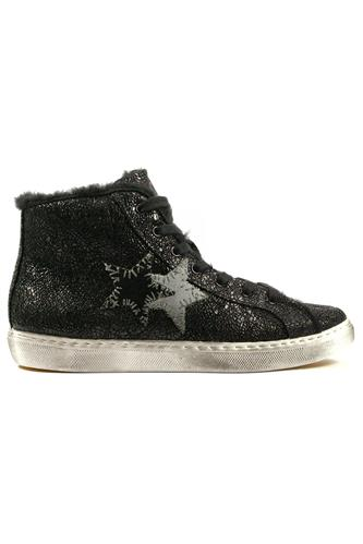 2STAR2SD High Black Cracklè Leather Fur