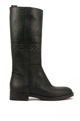 Boots Black Leather Embroidery, LATIKA