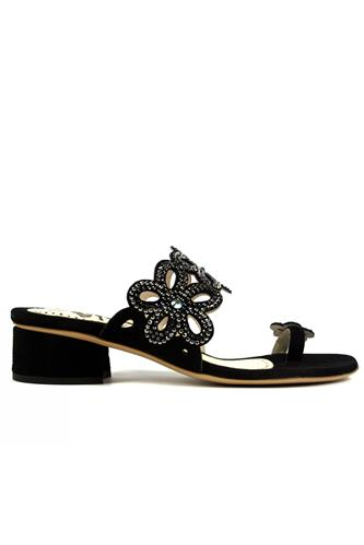 STEFANIA PELLICCIThong Sandal Black Suede Strass