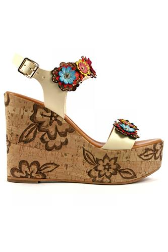 STEFANIA PELLICCICork Wedge Multicolor Flower White Soy Leather