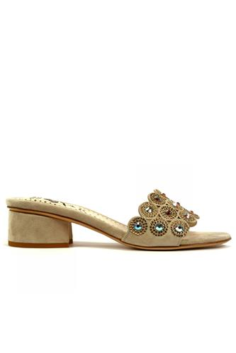 STEFANIA PELLICCISandal Dove Grey Suede Strass