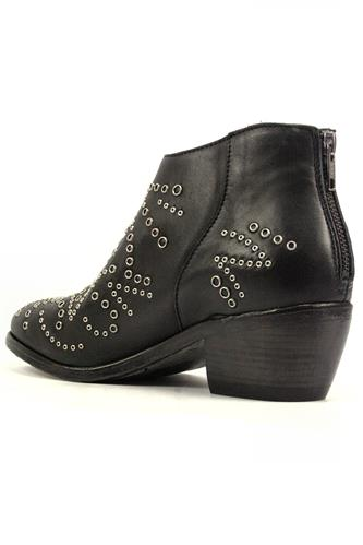 Stepha Black Leather Eyelets