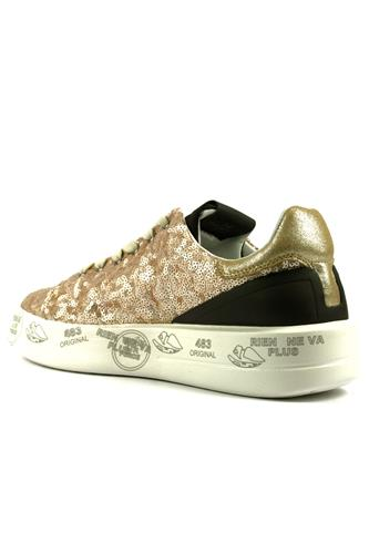 Belle Gold Paillettes Lminated Suede Black Leather