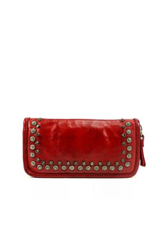 CAMPOMAGGIWallet Lichene Red Leather Strass Studs