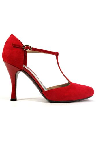 Carmen Suede Red Patent Leather