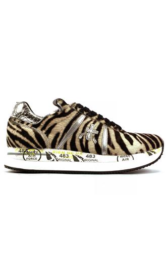 PREMIATAConny Zebra Pony Skin Silver Laminated Leather