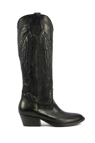 Texan High Boots Black Leather, OASI