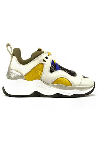 FABILamaxi White Leather Yellow Black Nylon