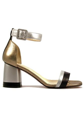 Sandal Silver Bronze Laminate Black Leather, OASI